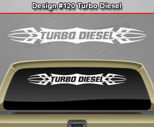 "Design #120 Turbo Diesel - Windshield Window Tribal Accent Vinyl Sticker Decal Graphic Banner 36""x4.25""+"
