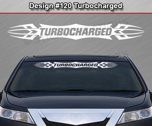 "Design #120 Turbocharged - Windshield Window Tribal Accent Vinyl Sticker Decal Graphic Banner 36""x4.25""+"