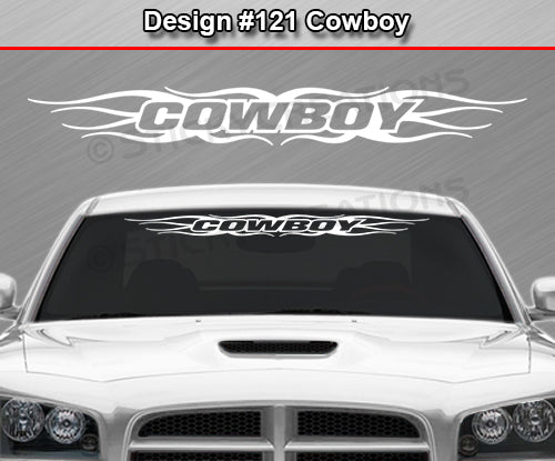 "Design #121 Cowboy - Windshield Window Tribal Flame Vinyl Sticker Decal Graphic Banner 36""x4.25""+"