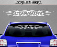 "Design #121 Cowgirl - Windshield Window Tribal Flame Vinyl Sticker Decal Graphic Banner 36""x4.25""+"