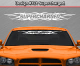 "Design #121 Supercharged - Windshield Window Tribal Flame Vinyl Sticker Decal Graphic Banner 36""x4.25""+"