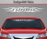"Design #121 Turbo - Windshield Window Tribal Flame Vinyl Sticker Decal Graphic Banner 36""x4.25""+"