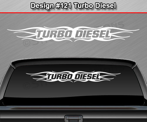 "Design #121 Turbo Diesel - Windshield Window Tribal Flame Vinyl Sticker Decal Graphic Banner 36""x4.25""+"