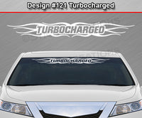 "Design #121 Turbocharged - Windshield Window Tribal Flame Vinyl Sticker Decal Graphic Banner 36""x4.25""+"