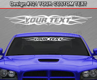 "Design #121 Your Text - Custom Personalized Windshield Window Tribal Flame Vinyl Sticker Decal Graphic Banner 36""x4.25""+"