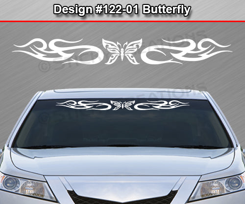 "Design #122 Butterfly - Windshield Window Tribal Swirl Vinyl Sticker Decal Graphic Banner 36""x4.25""+"