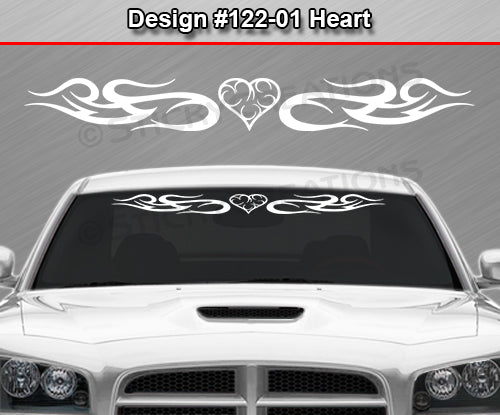 "Design #122 Heart - Windshield Window Tribal Swirl Vinyl Sticker Decal Graphic Banner 36""x4.25""+"