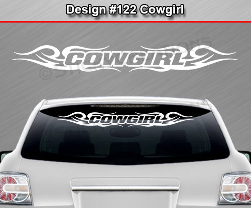 "Design #122 Cowgirl - Windshield Window Tribal Curls Vinyl Sticker Decal Graphic Banner 36""x4.25""+"