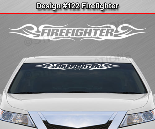 "Design #122 Firefighter - Windshield Window Tribal Curls Vinyl Sticker Decal Graphic Banner 36""x4.25""+"