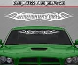 "Design #122 Firefighter's Girl - Windshield Window Tribal Curls Vinyl Sticker Decal Graphic Banner 36""x4.25""+"