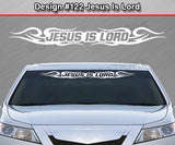 "Design #122 Jesus Is Lord - Windshield Window Tribal Curls Vinyl Sticker Decal Graphic Banner 36""x4.25""+"