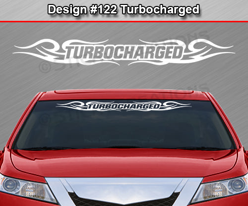 "Design #122 Turbocharged - Windshield Window Tribal Curls Vinyl Sticker Decal Graphic Banner 36""x4.25""+"