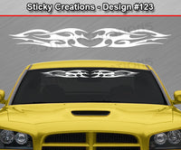 "Design #123 - 36""x4.25"" + Windshield Window Tribal Flame Vinyl Sticker Decal Graphic Banner"