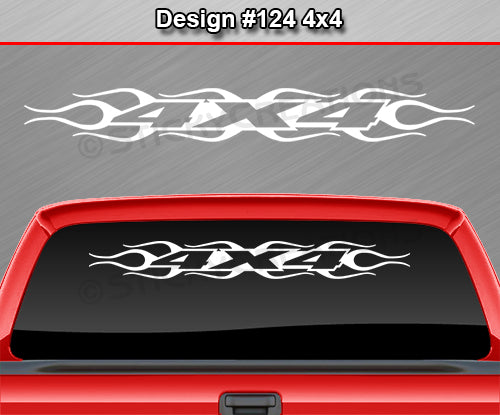 "Design #124 4x4 - Windshield Window Flame Flaming Vinyl Sticker Decal Graphic Banner Truck 36""x4.25""+"