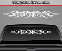 "Design #124 4x4 Off Road - Windshield Window Flame Flaming Vinyl Sticker Decal Graphic Banner Truck 36""x4.25""+"