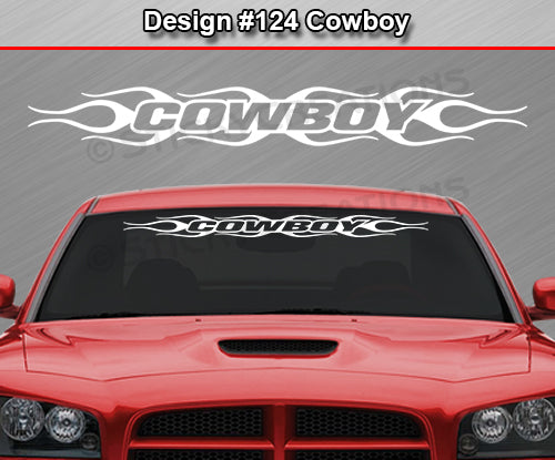"Design #124 Cowboy - Windshield Window Flame Flaming Vinyl Sticker Decal Graphic Banner 36""x4.25""+"
