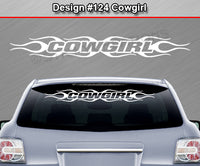 "Design #124 Cowgirl - Windshield Window Flame Flaming Vinyl Sticker Decal Graphic Banner 36""x4.25""+"