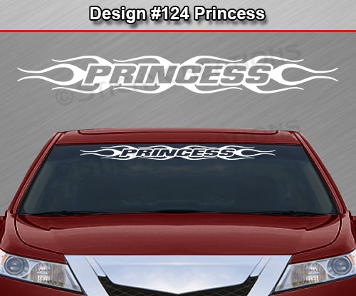 "Design #124 Princess - Windshield Window Flame Flaming Vinyl Sticker Decal Graphic Banner 36""x4.25""+"