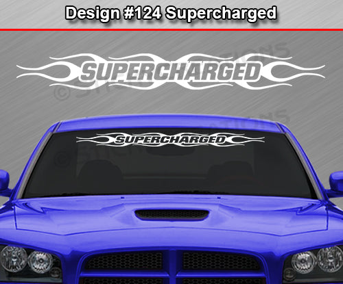 "Design #124 Supercharged - Windshield Window Flame Flaming Vinyl Sticker Decal Graphic Banner 36""x4.25""+"