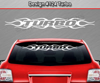 "Design #124 Turbo - Windshield Window Flame Flaming Vinyl Sticker Decal Graphic Banner 36""x4.25""+"