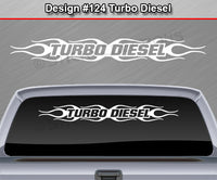 "Design #124 Turbo Diesel - Windshield Window Flame Flaming Vinyl Sticker Decal Graphic Banner 36""x4.25""+"