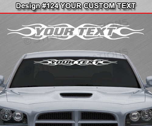 "Design #124 Your Text - Custom Personalized Windshield Window Flame Flaming Vinyl Sticker Decal Graphic Banner 36""x4.25""+"