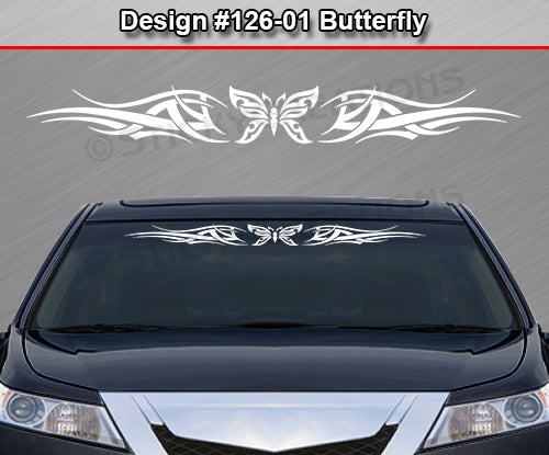"Design #126 Butterfly - Windshield Window Tribal Accent Vinyl Sticker Decal Graphic Banner 36""x4.25""+"