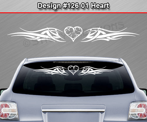 "Design #126 Heart - Windshield Window Tribal Accent Vinyl Sticker Decal Graphic Banner 36""x4.25""+"