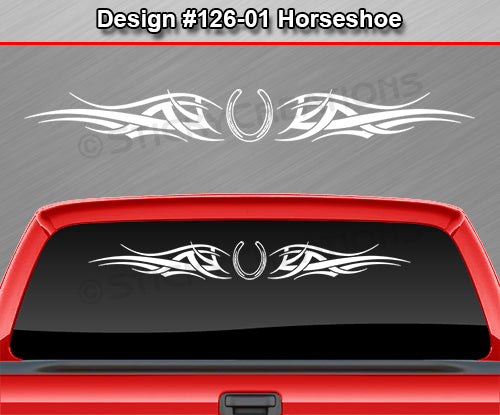 "Design #126 Horseshoe - Windshield Window Tribal Accent Vinyl Sticker Decal Graphic Banner 36""x4.25""+"