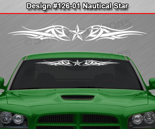 "Design #126 Nautical Star - Windshield Window Tribal Accent Vinyl Sticker Decal Graphic Banner 36""x4.25""+"