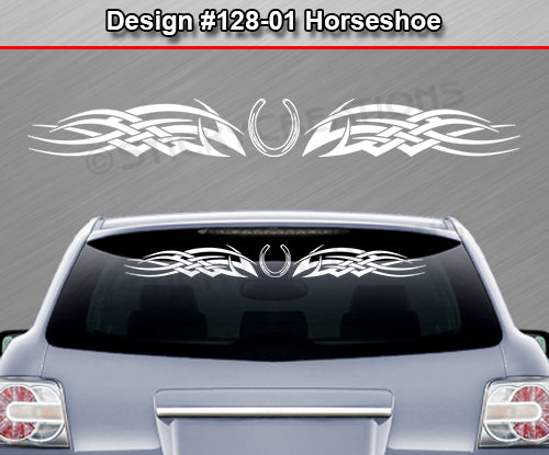 "Design #128 Horseshoe - Windshield Window Tribal Celtic Knot Vinyl Sticker Decal Graphic Banner 36""x4.25""+"