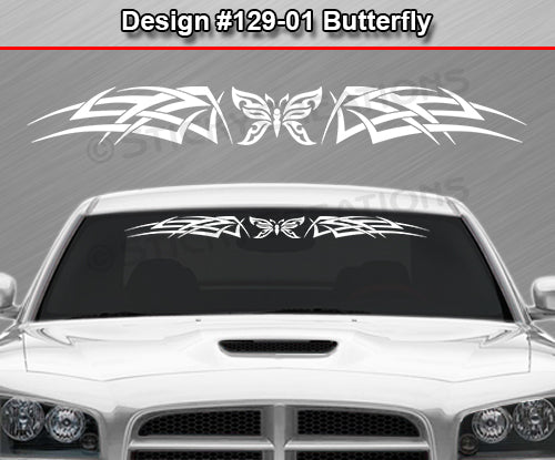 "Design #129 Butterfly - Windshield Window Tribal Celtic Knot Vinyl Sticker Decal Graphic Banner 36""x4.25""+"