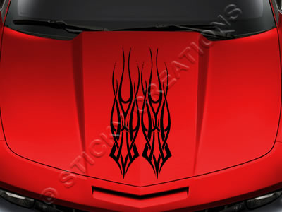 Design #130 Hood - Tribal Flame Decal Sticker Vinyl Graphic Car Truck SUV Vehicle