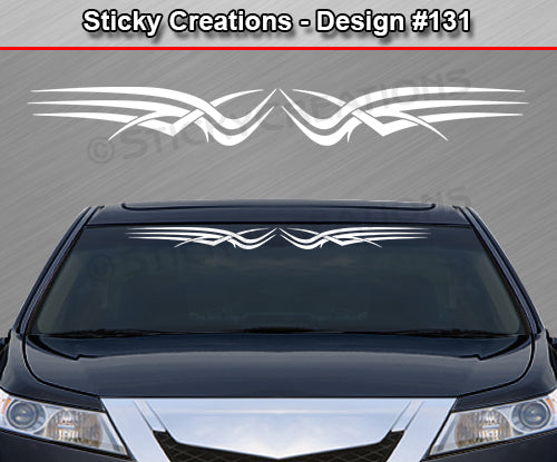 "Design #131 - 36""x4.25"" + Windshield Window Tribal Scallop Vinyl Sticker Decal Graphic Banner"