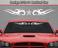 "Design #133 Nautical Star - Windshield Window Tribal Thorns Vinyl Sticker Decal Graphic Banner 36""x4.25""+"