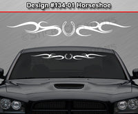 "Design #134 Horseshoe - Windshield Window Tribal Swirl Vinyl Sticker Decal Graphic Banner 36""x4.25""+"