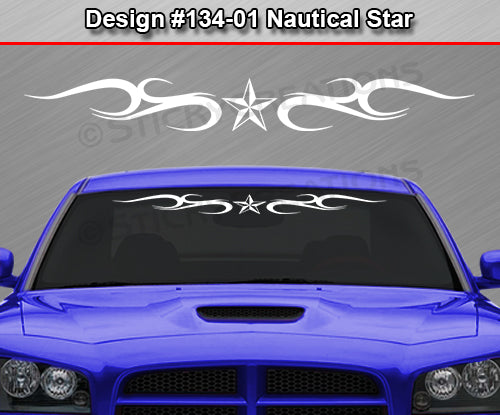 "Design #134 Nautical Star - Windshield Window Tribal Curl Vinyl Sticker Decal Graphic Banner 36""x4.25""+"