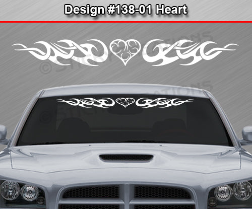 "Design #138 Heart - Windshield Window Tribal Curls Vinyl Sticker Decal Graphic Banner 36""x4.25""+"