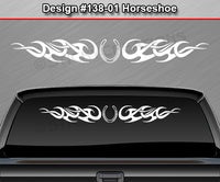 "Design #138 Horseshoe - Windshield Window Tribal Curls Vinyl Sticker Decal Graphic Banner 36""x4.25""+"