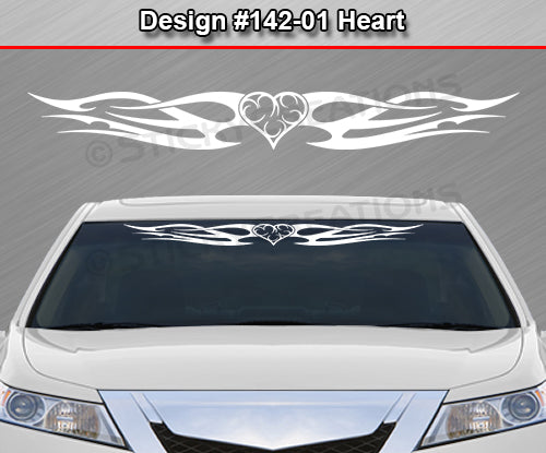"Design #142 Heart - Windshield Window Tribal Flame Vinyl Sticker Decal Graphic Banner 36""x4.25""+"