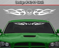 "Design #142 Skull - Windshield Window Tribal Flame Vinyl Sticker Decal Graphic Banner 36""x4.25""+"