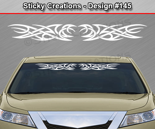 "Design #145 - 36""x4.25"" + Windshield Window Tribal Curls Vinyl Sticker Decal Graphic Banner"