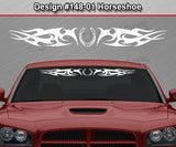 "Design #148 Horseshoe - Windshield Window Tribal Thorns Vinyl Sticker Decal Graphic Banner 36""x4.25""+"