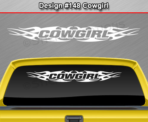 "Design #148 Cowgirl - Windshield Window Tribal Flame Vinyl Sticker Decal Graphic Banner 36""x4.25""+"