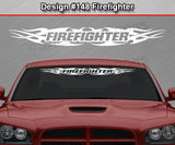 "Design #148 Firefighter - Windshield Window Tribal Flame Vinyl Sticker Decal Graphic Banner 36""x4.25""+"