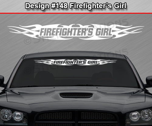 "Design #148 Firefighter's Girl - Windshield Window Tribal Flame Vinyl Sticker Decal Graphic Banner 36""x4.25""+"