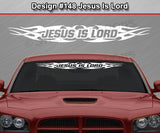 "Design #148 Jesus Is Lord - Windshield Window Tribal Flame Vinyl Sticker Decal Graphic Banner 36""x4.25""+"