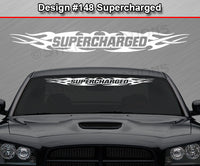 "Design #148 Supercharged - Windshield Window Tribal Flame Vinyl Sticker Decal Graphic Banner 36""x4.25""+"
