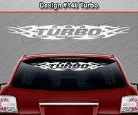 "Design #148 Turbo - Windshield Window Tribal Flame Vinyl Sticker Decal Graphic Banner 36""x4.25""+"