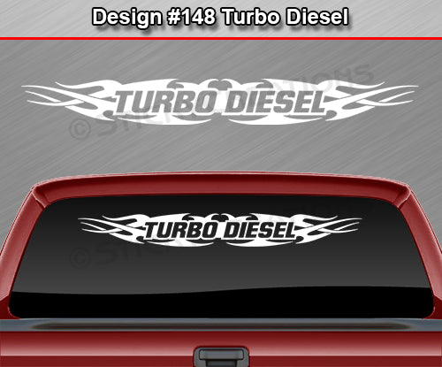 "Design #148 Turbo Diesel - Windshield Window Tribal Flame Vinyl Sticker Decal Graphic Banner 36""x4.25""+"